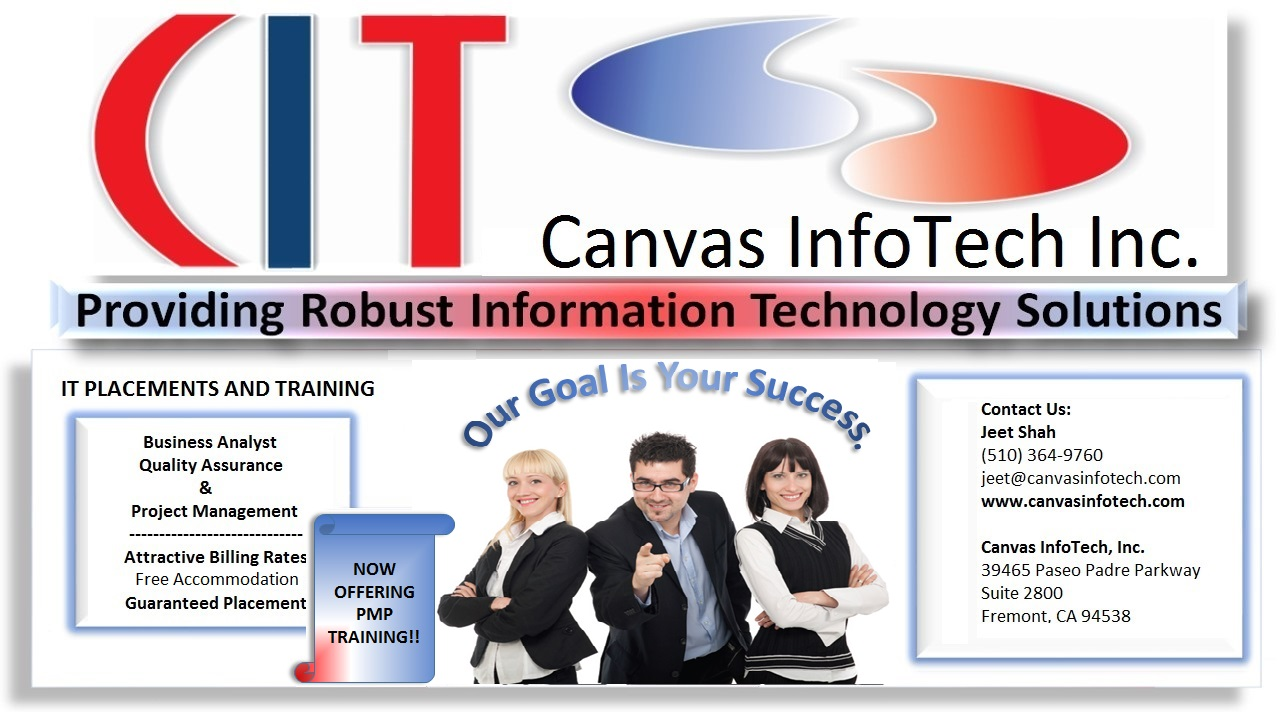Free BA/QA/PM Training at Canvas InfoTech! 100% Placements