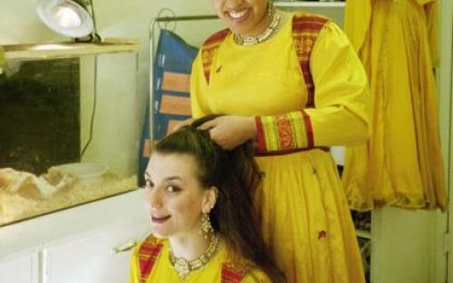 getting readh for kathak performance.jpg