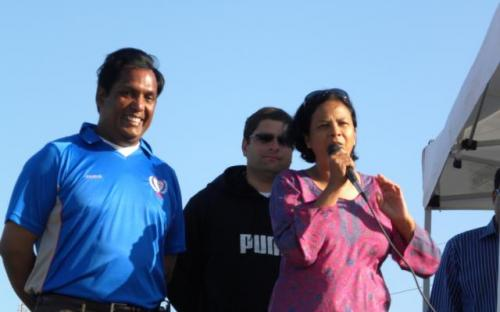 Anu Natarajan addressing the players and spectators on the background is Ifthikar Khan President BACA.JPG