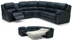 5 Seat L Shaped Black Leather Sofa With Pull Out Bed For